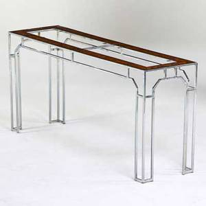 Milo baughman thayer coggin console table high point nc 1970s chromed steel burlwood unmarked 27 x 58 12 x 16