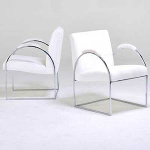 Milo baughman thayer coggin pair of armchairs high point nc 1970s chromed steel upholstery unmarked 30 x 21 12x 26