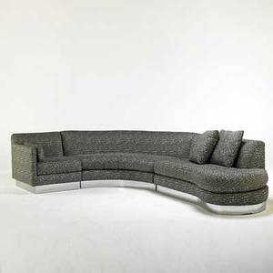 Milo baughman thayer coggin custom sectional sofa highpoint nc 1980s chromed steel upholstery unmarked as shown 30 12 x 144 x 120