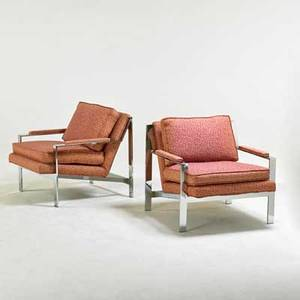 Milo baughman thayer coggin pair of angle bar lounge chairs high point nc 1970s chromed steel upholstery unmarked 27 x 30 x 32