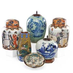 Asian ceramics six items 20th c satsuma footed bowl two chinese covered jars tall vase with floral decoration and pair of porcelain ginger jars vase 13 12