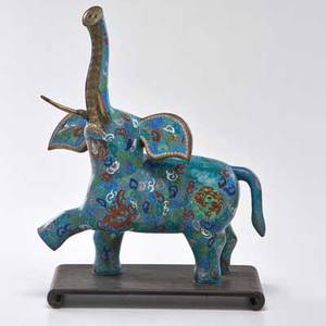 Chinese cloisonne large elephant on wooden base 20th c unmarked with base 21 12 x 9 12 x 15