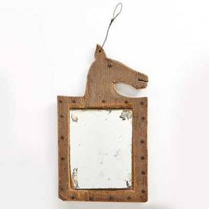 Plains horse effigy mirror carved wood frame with brass tacks around original mirror late 19th c 13 x 7 14