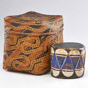Native american cochiti painted drum and a cherokee polychrome decorated woven covered basket 19th20th c taller 12