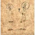 Moghul painting 18th c pen and ink with watercolor on decorative paper framed 7 12 x 7 12 sheet