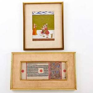 Indian jains two on paper 19th c one erotic painting and a page from the kalpasutra both framed larger image 4 14 x 11
