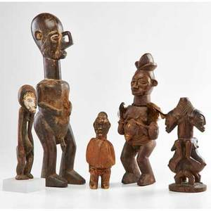 African tribal fetish figures five carved wood and cloth  four yaka or yaka type and a double hemba mid 20th c dem rep congo tallest 21 12