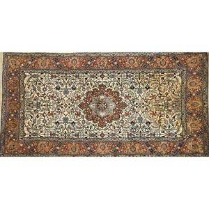 Tabriz oriental area rug foliate design and central medallion on ivory ground 20th c 64 x 37