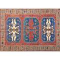Caucasian soumak area rug with three medallions and triple border 20th c wool unmarked 104 x 80