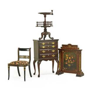American decorative furnishings four items 19th20th c fire screen with painted panels jewelry chest pedestalbase candle stand and ebonized side chair jewelry chest 41 12 x 26 x 18