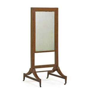 Regency styledressing mirror mahogany with rising rectangular mirror sabre legs ending on casters 19th c 54 12 x 22