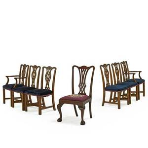Set of george iiistyle dining chairs six in mahogany with pierced backs and padded seats on square legs 20th c together with a similar nonmatching chippendalestyle dining chair set 38 x 28 3