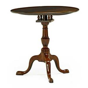 Queen anne tilttop candle stand mahogany on tripod base mid 18th c 23 12 x 19 dia
