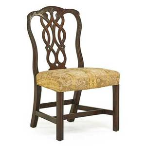 George iii sidechair mahogany frame with pierced vasiform backrest and padded seat on square legs ca 1775 38 12 x 22 12 x 20