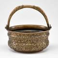 16th c italian bowl brass engraved with scrollwork and crests unmarked 7 12 x 7 dia