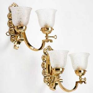 Brass wall sconces pair with glass shades 20th c unmarked 11 x 13 x 8 12