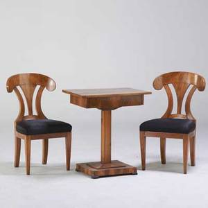 Biedermeier single drawer game table and two matching upholstered chairs 19th c walnut walnut burl unmarked table 29 14 x 26 34 x 18 34