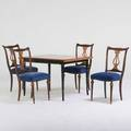 Biedermeyer style four lyreback chairs and dining table 20th c birch ebonized and gilt wood oak velvet upholstery all unmarked table 29 12 x 45 x 33 chair 37 x 17 x 21