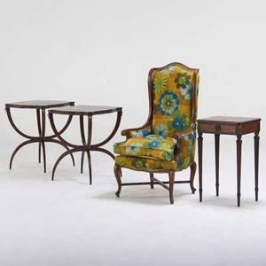 French style pair of directoirestyle side tables provincialstyle wing chair and louis xvi styleside table 20th c mahogany walnut leather upholstery chair 46 x 24 x 25