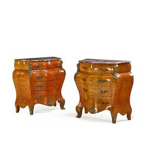 Pair of bombe marble top commodes ormolu mounted 20th c 36 12 x 36 x 17