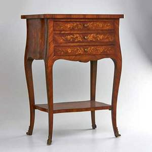 French style threedrawer marquetry side table usa 20th c hardwood veneer and brassplated metal unmarked 27 x 19 x 13 34