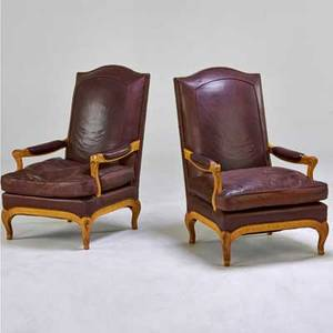 Yale r burge antique reproductions pair of french provincialstyle armchairs usa 1980s leather painted wood brass studs each with upholstery label 41 x 27 x 33