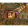Harry walker american b 1947 oil on canvas of movie theater with film gone with the wind on screen 1996 framed signed and dated 28 x 35