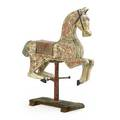 Carousel horse distressed original paint glass eyes early 20th c 48 x 45 12