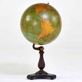 Cs hammond and co tabletop globe new york ca 1930s wood copper plated metal paper 34 x 19 dia