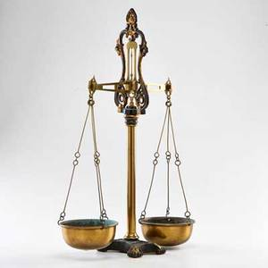 White and son balance scale brass and painted iron late 19th c marked j white and son makers 17 12 x 18 12 x 6 12