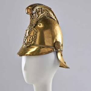 Victorian firemans helmet c f b brass with leather insert english late 19th c 10 14 x 7 12 x 11 14
