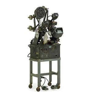 Moviola film editing machine set on base with casters early 20th c machine 62 x 28 x 23