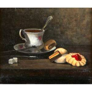 Marjarie arcuri american 20th c oil on canvas still life signed together with two watercolors by unknown artists all framed larger 10 x 12 canvas