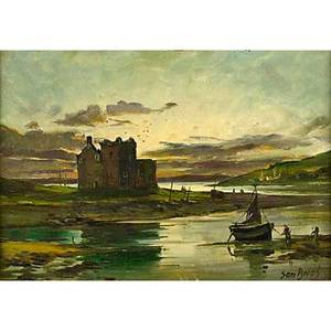 Riverscape oil on board of a ruined castle by an estuary signed sam boughframed signed 9 34 x 13 78