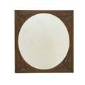 Carved mirror square walnut frame surrounding circular mirror 20th c 39 sq