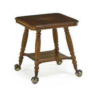 Victorian side table oak with square top and lower shelf ball and talon feet late 19th c 29 x 26 sq