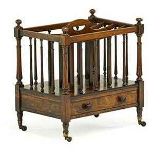 Victorian canterbury rosewood on gilt brass casters late 19th c 20 x 19 12 x 14