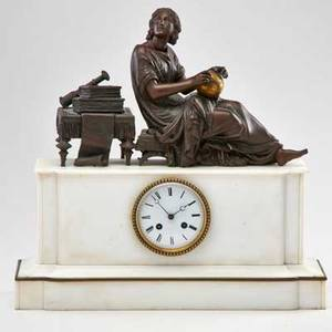 French figural mantel clock alabaster base surmounted by a bronze patinated spelter figure of a woman studying geography 19th c movement marked 17 x 18 x 6