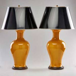 Decorative lighting pair of ginger jar table lamps 20th c ceramic and brass fittings both unmarked each to finial 28 x 8 dia
