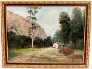 American Mid 20th C Landscape with Figure Oil Painting