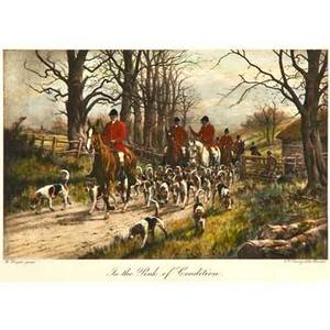 After george wright british 18601942 lithograph in colors of a hunting scene in the pink of condition framed printed by ew savory ltd bristol 7 78 x 10 58 sight