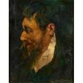 John r grabach american 18861981 two paintings oil on panel bearded gentleman watercolor on paper our house both framed each signed larger 19 x 23 sight
