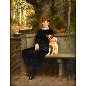 Portrait of a girl with her dog oil on board framed danish early 20th c 16 x 12 14