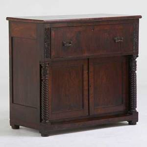 American empire butlers desk with barleytwist columns and fitted interior 19th c mahogany crotch mahogany veneer patinated metal unmarked 42 12 x 46 x 24