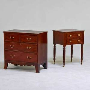 Traditional furniture sheridanstyle fourdrawer chest and american empire twodrawer work table usa mahogany brass pulls both unmarked chest 30 x 30 x 16
