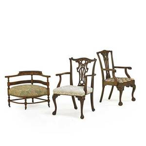 American chairs three 20th c two chippendalestyle armchairs and a corner chair with stretcher base largest 41 12 x 21 12 x 20
