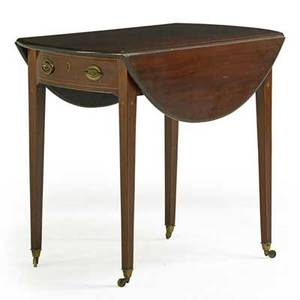 Pembroke style dropleaf table mahogany with line inlay tapered square legs 20th c 28 x 32 12 x 20 12 closed