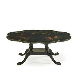 Ebonized tray top coffee table lacquered with enameled foliate decoration 20th c 17 x 42 x 32