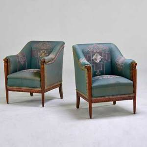 Edwardian style pair of lounge chairs with reed detail and embroidered upholstery unmarked 34 x 28 x 29 12