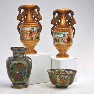 Decorative group four pieces 20th c pair of royal attina porcelain vases with classical decoration and two pieces of chinese pliqueajour attina marked tallest 10 14